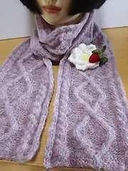縄編み模様のふわふわモヘアストール*ハンドメイド*
