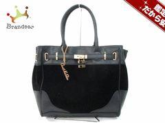 セシルマクビー ハンドバッグ 美品 黒 タグ付き 合皮×ベロア