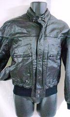 US古着 レザージャケット 本革 42 ブラック スタンドカラー