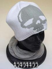 冬のマストアイテム<男女OK>スカル ニット帽ホワイト