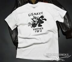 米海軍フェリックスパンサーTシャツ・白黒XL・新品/ミリタリー