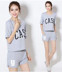 英字ロゴTシャツ+ショートパンツのセット413