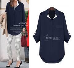 2661大きいサイズ☆飾りポケット付きシャツ 3L-6L