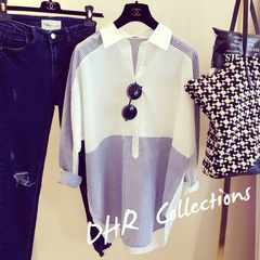 新品☆胸ボタン ストライプシャツ