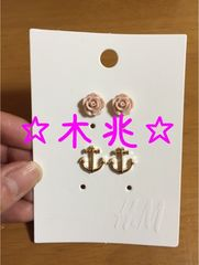 H&M薔薇マリンピアスセット
