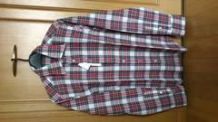 激安75%オフhLam、長袖シャツ(新品タグ、赤白、イタリア製、L)