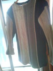 三色ストライプ丸首セーター