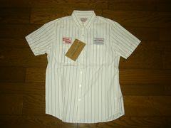新品WACKOMARIAワコマリアストライプワークシャツM白刺繍