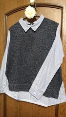 着痩せ魅せ☆厚手アウター着用時も安心なシャツレイヤー風薄手ニットソー