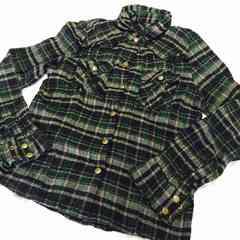 美品★ゴールドラインネルシャツ★チェックブロック緑