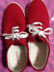 アメリカ購入FOREVER21靴レッド赤色新品