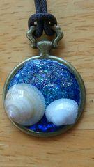 レジン  ハンドメイド  ネックレス  懐中時計  貝殻