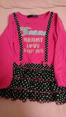 即決☆130�a黒&ピンクの重ね着風激カワ長袖チュニック