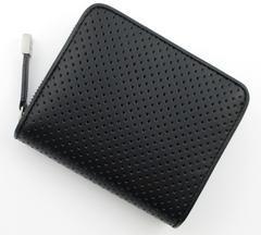 新品/箱有 ポールスミス パンチング牛革 二つ折り財布 ブラック