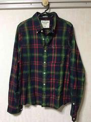 アバクロ チェックシャツ M 緑/赤系