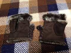 新品未使用ブラウンファー付きグローブ指あき手袋茶色