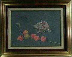 絵画 油彩 山本雅章『ほおずき』真作保証