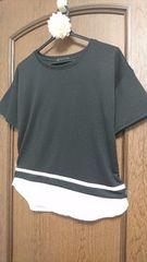 着やすい☆しっとり滑らか素材の裾シフォン切替レイヤー風バイカラーカットソー