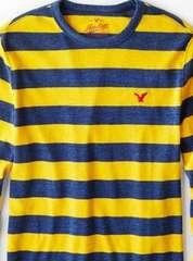 【American Eagle】AEOヘリテージストライプサーマルTシャツ XXL/インディゴ