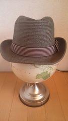 ★茶色ストライプリボン中折れストローハット麦わら帽子カーキ