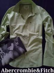 【Abercrombie&Fitch】Vintage Washed ストライプシャツ XXL/Green