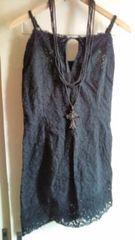 ■超美品黒総鍵編み胸元リボン裾レース夏ワンピ■