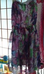 シフォン素材 可愛い花柄 スカートとミニワンピの2WAY