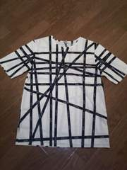 即決♪質屋購入エルメスロゴ入りリボン柄半袖TシャツM白×黒