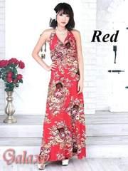 1729★Lサイズ★サークルバックルGOLDラメ入り和風花柄ストレッチロングドレス*レッド