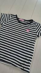 シンプルボーダーTシャツblack×whiteハート刺繍しっかり生地保育園即決
