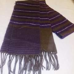 紫色&茶色ボーダーマフラー