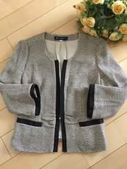エムズグレイシーのグログランリボン付ツイードジャケット美品