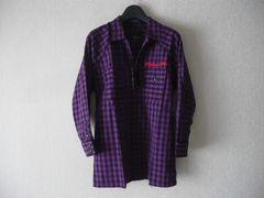 セール★ブロックチェックロゴ刺繍七分袖シャツ