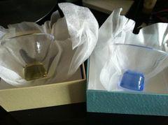 新品 ガラス おちょこ 黄色×青色セット