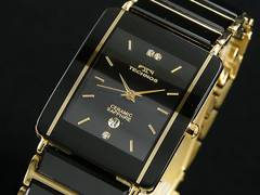 【TECHNOS】テクノス セラミック素材 メンズ腕時計TSM903GB