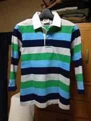 バーバリアン ラガーシャツ 七分袖カットソー Sサイズ細身 レトロ・ボーダー柄・緑紺水灰