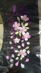 新品、振袖に最適!豪華刺繍柄の半衿、花とリボン、黒