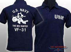米海軍フェリックス・ ヘヴィーウェイトポロシャツ・紺L・新品