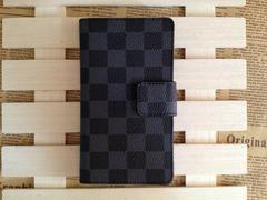 ★Samsung Galaxy S5 手帳タイプ チェック柄  紺