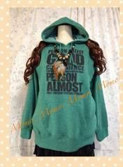 新品、大きいサイズLL*裏起毛フード、ポケ付パーカー緑