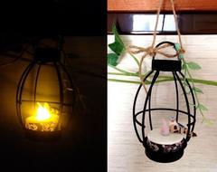 レトロアンティーク LEDキャンドルライト ランタン 壁飾り 小鳥