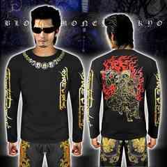 送料無料ヤクザヤンキーオラオラ系長袖ロンTシャツ服/不動明王和柄16029黒金-XL