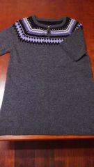 柔らか保温アクリルロングセーター3Lグレー×パープル