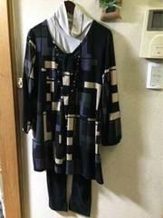3L☆紫ブロック柄V衿長袖ニットソーチュニック
