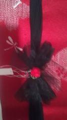 C2 送込〓新品〓浴衣リボン飾り〓(前飾り)黒いレースに赤い花