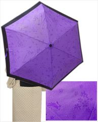 晴雨兼用 桜&うさぎ柄が浮き出る折り畳み日傘パープル(6本骨)