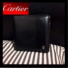 正規本物カルティエパシャ二つ折り財布ブラック