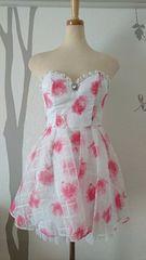 S ミニドレス Jewels ぼかし薔薇柄 フレア 格子柄 新品 J16366