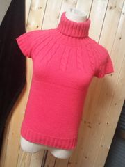 US古着 coolwear ケーブル編みニットセーター タートルネック ピンク