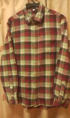 赤系チェック柄長袖ネルシャツ細身L